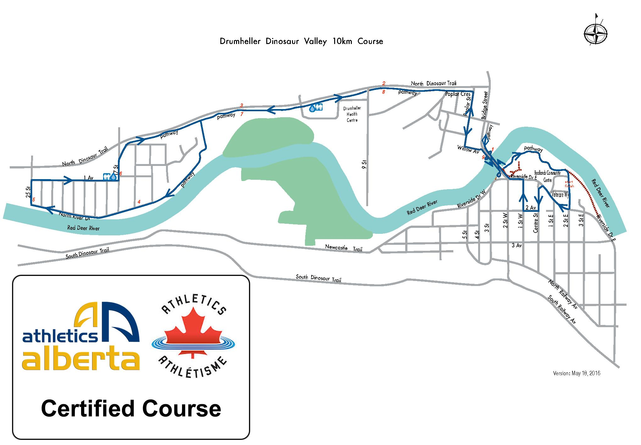 Drumheller Dinosaur 10km Course Map Certified Course Athletics Canada