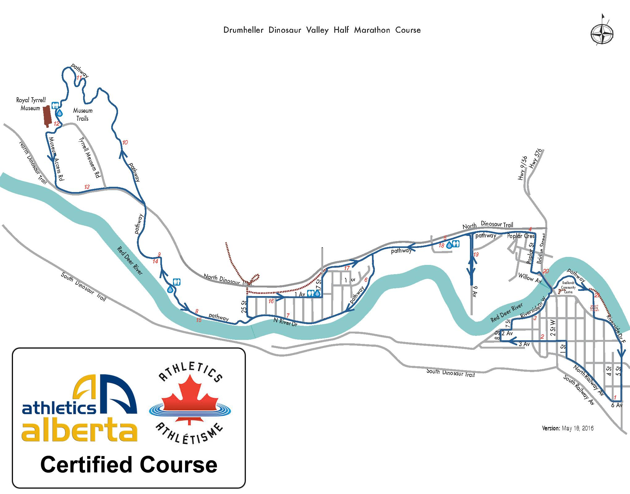 Drumheller Dinosaur Half Marathon Course Map Certified Course Athletics Canada